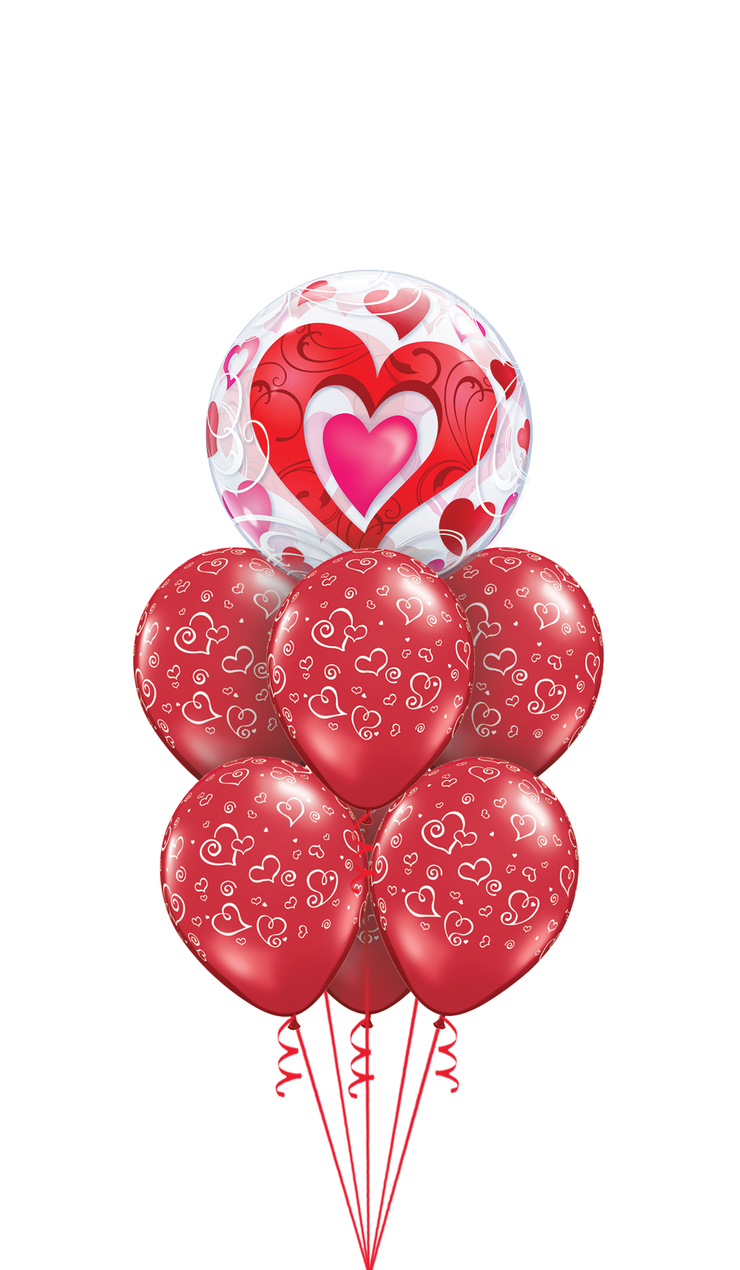 33909 11510 Red Hearts & Filigree Bubble Luxury